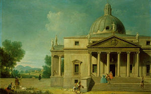 Joseph Smith (art collector) - Capricco of Mereworth Castle (cropped at right), by Antonio Visentini and Francesco Zuccarelli, commissioned by Consul Smith, 1742 (Royal Collection)