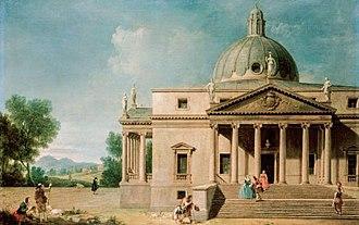 Mereworth Castle - Capriccio with a view of Mereworth Castle. Francesco Zuccarelli and Antonio Visentini, 1746.