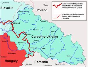 Carpatho-Ukraine - Map of Carpatho-Ukraine in 1939.