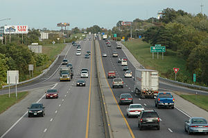 Vehicles ply I-70, the oldest interstate in Mi...