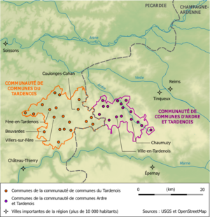 Tardenois - Image: Carte des communautés de communes du Tardenois et d'Ardre et Tardenois