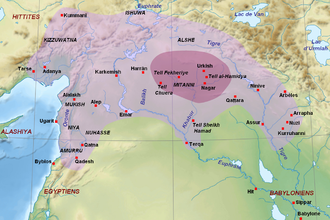 Parshatatar - A map of the Mitanni kingdom. This extent was likely reached during the reign of Parshatatar