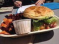 Cashew Chickpea Burger with yam & beet chips (9329929286).jpg