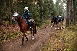Mounted police - German riot police during a demonstration against storing of nuclear waste