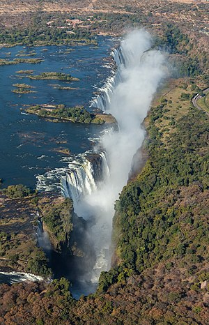 Aerial view of the Victoria Falls, border between Zambia and Zimbabwe.