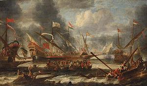 Catharina Peeters - A naval battle on choppy waters, 1652