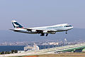 Cathay Pacific Airways, CX36, Boeing 747-467F (SCD) , B-HUP, Arrived from Hong Kong, Kansai Airport (17187432311).jpg