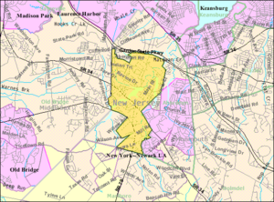 Matawan, New Jersey - Image: Census Bureau map of Matawan, New Jersey