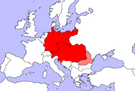 A view of Central Europe dating from the time before the First World War (1902): Central European countries and regions: Germany and Austria-Hungary (without Bosnia & Herzegovina and Dalmatia) Regions located at the transition between Central Europe and Southeastern/Eastern Europe: Romania Central Europe 1902.PNG