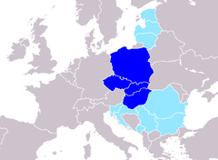 Central Europe according to Peter J. Katzenstein (1997)  The Visegrád Group countries are referred to as Central Europe in the book[61]  countries for which there's no precise, uncontestable way to decide whether they are parts of Central Europe or not[62]