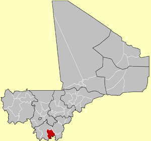 Location of the Cercle of Kolondieba in Mali