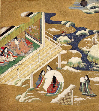 Murasaki Shikibu - A Tosa Mitsuoki illustration of Heian court women in the winter, c. late 17th century