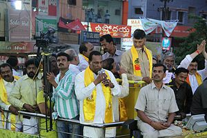 Malla Reddy - Malla Reddy addressing the gathering at Malkajgiri 'X' Roads alongside Telugu Desam Party President N. Chandrababu Naidu