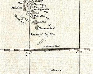 Channels of the Maldives - Suvadiva Channel in 1784 D'Anville map