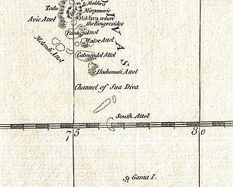 Huvadhu Kandu - Suvadiva Channel in 1784 D'Anville map