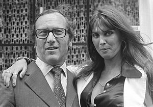 The Golden Voyage of Sinbad - Producer Charles Schneer and actress Caroline Munro in Amsterdam for the premiere of The Golden Voyage of Sinbad.