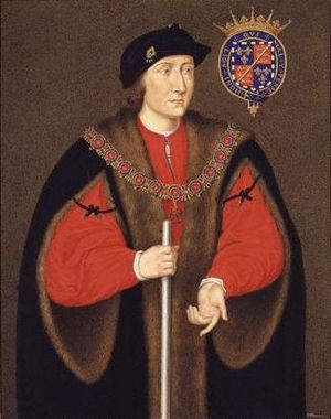 Charles Somerset, 1st Earl of Worcester - Charles Somerset, 1st Earl of Worcester holding white staff of Lord Chamberlain of the Household to King Henry VIII