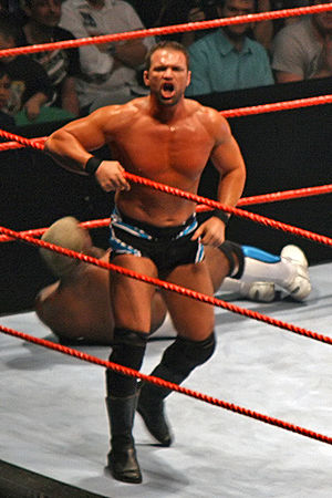 Charlie Haas - Haas calls to the crowd following a ''hot tag'' from long-time partner Shelton Benjamin in late 2007.
