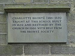 Photo of Charlotte Brontë stone plaque