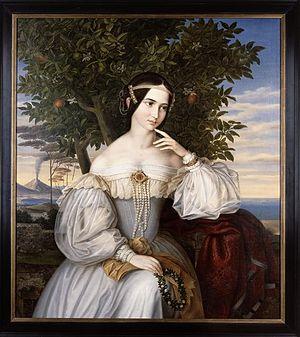 Charlotte von Rothschild - Charlotte von Rothschild, wedding portrait by Moritz Daniel Oppenheim, 1836. The Israel Museum, Jerusalem