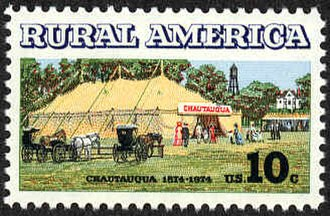 Chautauqua - Postage stamp commemorating the 100th anniversary of the first Chautauqua.