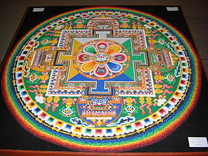Sand mandala - Chenrezig Sand Mandala created and exhibited at the House of Commons of the United Kingdom on the occasion of the visit of the 14th Dalai Lama on 21 May 2008.