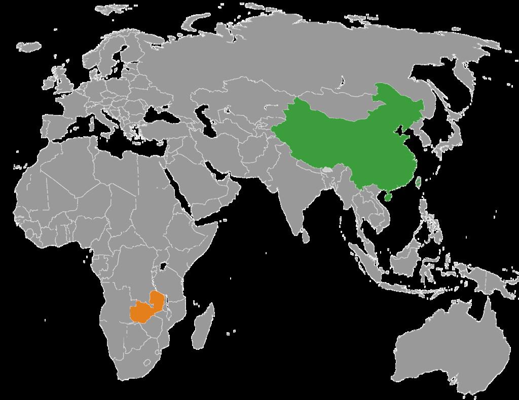 Map indicating locations of China and Zambia