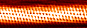 An atomically resolved scanning tunneling microscope image of a chiral carbon nanotube
