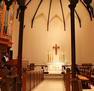 Christ Church Cathedral (Indianapolis) - An organist playing near the altar