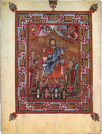 Yaropolk Izyaslavich - Christ crowning Yaropolk and his mother Gertruda, eleventh-century miniature from the Gertrude Psalter.
