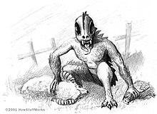 El Chupacabra (Pengisap Kambing) sebagian besar terkait dengan komunitas Amerika Latin di AS, Meksiko, dan Puerto Rico (tempat pertama kali dilaporkan). Ia dianggap sebagai makhluk yang berat, seukuran beruang kecil, dengan deretan duri yang menjulur dari leher hingga pangkal ekor dan namanya diambil dari fakta bahwa ia seharusnya menyerang hewan dan meminum darahnya - terutama kambing.