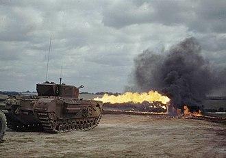 Churchill Crocodile - A Churchill Crocodile firing its flame-projector