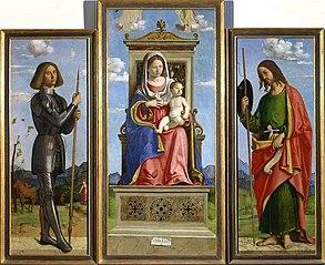 Triptyque de la Vierge à l'Enfant entre les saints Georges et Jean