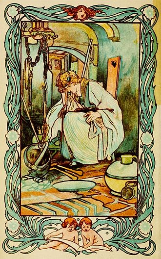 "Cinderella - Charles Robinson illustrated Cinderella in the kitchen (1900), from ""Tales of Passed Times"" with stories by Charles Perrault."