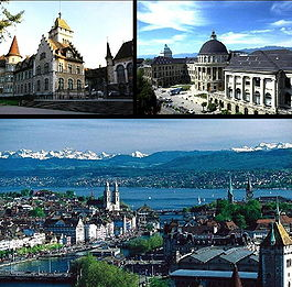 Zürich - Top left: National Museum, Top right: Swiss Federal Institute of Technology, Bottom: View over Zürich and the lake.
