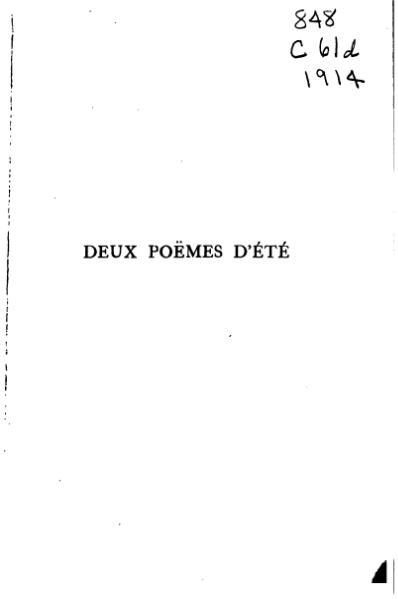 File:Claudel - Deux Poëmes d'été, 1914.djvu