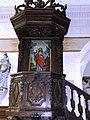 Cliponville (Seine-Mar.) église, la chaire avec tableau Agneau de Dieu.jpg