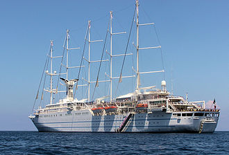 Club Med - Club Med 2 is a 5-masted cruise ship owned by Club Med. The sails are automatically deployed by computer control. Club Med 2 was launched in 1992 in Le Havre, France. The ship, carrying up to 400 passengers with a crew of 200, cruises the Mediterranean, Caribbean and Atlantic.