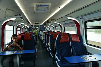 KTM Class 93 - Interior of a Class 93 train car crossing the Bukit Merah Lake Railway Bridge