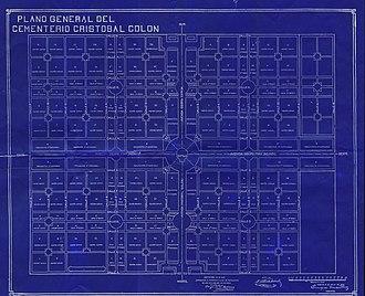 Colon Cemetery, Havana - Floor plan of Colon Cemetery. 1915. Enrique Martinez, Engineer