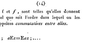 Commutative property - The first known use of the term was in a French Journal published in 1814