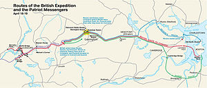 Project Appleseed - A National Park Service map showing the routes of the initial Patriot messengers and of the British expedition