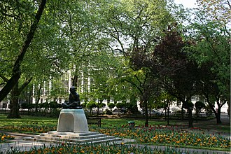 Connaught Hall, London - Tavistock Square in springtime, Connaught Hall just visible in the background