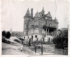 Alfred E. Clarke Mansion - The mansion under construction in the 1870s