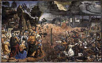 The Crossing of the Red Sea (Sistine Chapel) - Image: Cosimo Rosselli Attraversamento del Mar Rosso