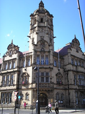 Queen Anne style architecture - County Hall, Wakefield, designed by architects James Glen Sivewright Gibson and Samuel Russell in 1894