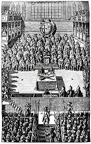 "A plate depicting the Trial of Charles I on January 4, 1649, from ""Nalson's Record of the Trial of Charles I, 1688"" in the British Museum."