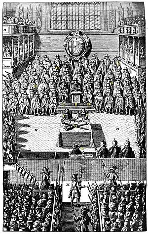"High Court of Justice for the trial of King Charles I - A plate depicting the Trial of Charles I in January 1649, from John Nalson's ""Record of the Trial of Charles I, 1688"" in the British Museum."