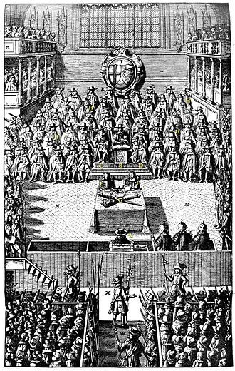 """High Court of Justice for the trial of King Charles I - A plate depicting the Trial of Charles I in January 1649, from John Nalson's """"Record of the Trial of Charles I, 1688"""" in the British Museum."""