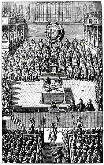 The trial of Charles I on 4 January 1649. Court-charles-I-sm.jpg